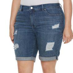 Plus Size Jennifer Lopez Destructed Jean Bermuda Shorts, Women's, Size: 16 W, Dark Blue