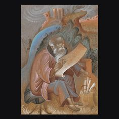 Michael Psellos as a monk. Egg Tempera on wood. Byzantine Icons, Byzantine Art, Orthodox Icons, Tempera, Religious Art, Modern Art, Lion Sculpture, Carving, Saints