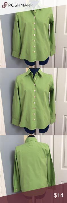 "Talbots green blouse 10P Fun spring green wrinkle resistant blouse. Talbots 10P. 25"" Length. EUC.  100% cotton. Talbots Tops"