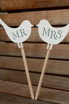 Mr & Mrs Love Birds for Gift or Wedding Cake by ProverbialDaisies, £10.00