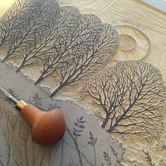 Farewell to a Norfolk Summer Linocut I love the trees! This will be a very beautiful print! Stencil, Lino Art, Creation Art, Stamp Carving, Art Sculpture, Linoprint, Stamp Printing, Art Graphique, Wood Engraving