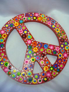Hand Painted Wooden Polka Dotted Peace Sign-children's wall decor
