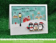 It's penguin-ing to look a lot like Christmas! These cute penguins are perfect for holiday and Christmas cards, especially for a friend who loves music! Coordin