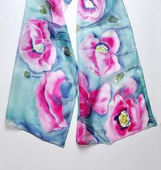 Hand Painted Silk Scarf with pink poppies on a colored background-Shades of light mint and navy,hand painted scarves