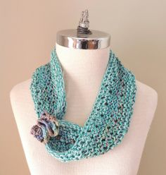 Turquoise Blue cotton Infinity scarf Spring by Valerie Baber Designs - IntricateKnits, $45.00