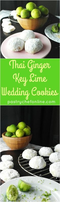 Thai Ginger Key Lime Wedding Cookies recipe is an unexpected twist on the classic Mexican wedding cookie recipe. The ginger brings a warmth and tingle and the key lime a bit of zing. Hard to stop eating! Enjoy! | pastrychefonline.com