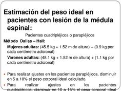 Estimación del peso ideal enpacientes con lesión de la médulaespinal:Pacientes cuadripléjicos o parapléjicosMétodo Dal... Grown Women