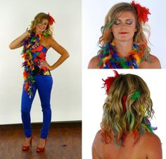 papagei kostüm selbstgemacht idee buntes federboa frisur makeup