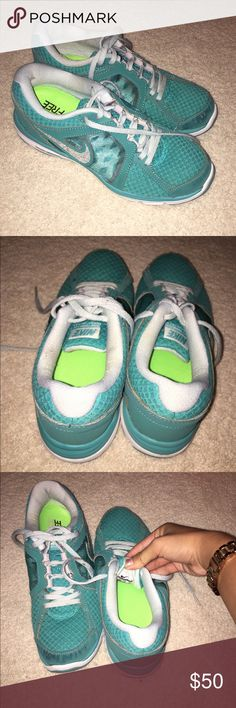 Women's Nike Dual Fusion Run Teal teal tennis nike dual fusion runs with light blue laces. women's. nike. size 8. lightly used but good condition. will wash before selling. i can negotiate. Nike Shoes Sneakers