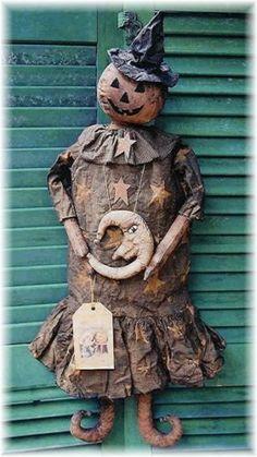 Primitive Pumpkin Witch Doll Moon Necklace Craft Sewing Pattern Halloween Decor | eBay
