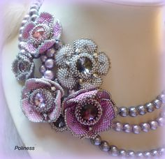 beaded flower centers | ... made separately. There is Swarovski crystal in the center of flowers