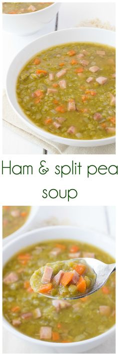 Ham and split pea soup-long  --  Jessie's Review: I am SO glad I found this recipe! I was always so concerned split pea soup took so long to make, but this was seriously easy to make and not too long! So delicious and using ham from a baked ham was a perfect combination! YUM! Definitely try this one!