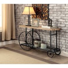 Furniture of America Galen Industrial Style Sand Black Wheeled Sofa Table (Sand Black) Industrial Console Tables, Vintage Industrial Furniture, Industrial Living, Rustic Furniture, Living Room Furniture, Home Furniture, Industrial Design, Furniture Outlet, Online Furniture