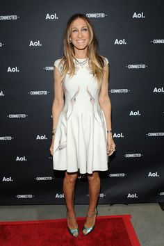 Fabulously Spotted: Sarah Jessica Parker Wearing Alexander McQueen - 2014 AOL NewFronts - http://www.becauseiamfabulous.com/2014/04/sarah-jessica-parker-wearing-alexander-mcqueen-2014-aol-newfronts/