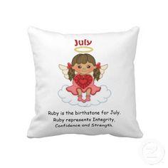 July Birthstone Angel Brunette Pillow  http://www.zazzle.com/july_birthstone_angel_brunette_pillow-189866694345977223?rf=238631258595245556