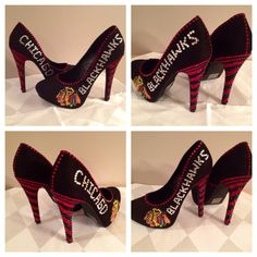 Custom heels Chicago Blackhawks heels  Blackhawks by Blingshoeshop, $145.00