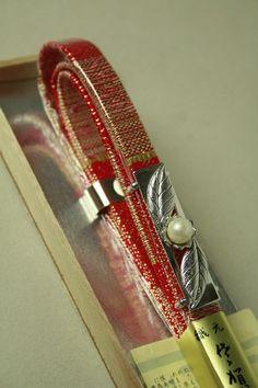 Red and gold obi dome set / 赤×金 佐賀錦の帯締にパールの帯留セット   #Kimono #Japan  http://www.rakuten.co.jp/aiyama/