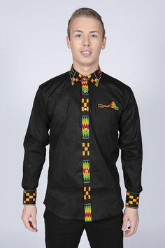 Buy online Pepperfruit Long Sleeve Mens Blackfriars Shirt. Pepperfruit offer a vibrant and spicy collection of handmade African clothing.