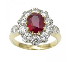 A Burma ruby and diamond cluster ring | Gallerique.com