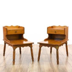 This pair of step tables are featured in a solid wood with a glossy maple finish. These end tables have 2 shelf tiers, 1 drawer and curved trim. Great side tables for storing magazines next to a sofa! #countryfarmhouse #tables #endtable #sandiegovintage #vintagefurniture