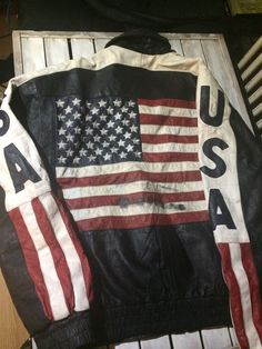 Americana Collectible God bless America patriotic XL Jacket USA With Flag