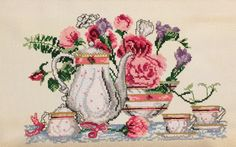 Tea Time Counted Cross Stitch Complete by Berwickbay on Etsy
