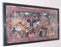 MEXICAN LATINO AMATE FOLK ART CLAUDIA MARULO A PAINTING