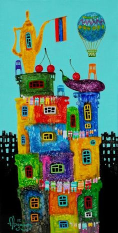 Cute Paintings, Fine Art, Artist, Houses, Homes, Visual Arts, Artists, Home, At Home