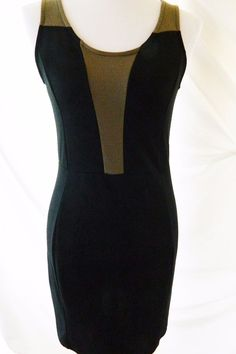 Women's Soprano Stretch Body Con Dress Sleeveless Black Beige Size L #Soprano…