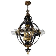 Italian Renaissance Flush Mount Stair Lantern, Eighteen-Light | From a unique collection of antique and modern lanterns at https://www.1stdibs.com/furniture/lighting/lanterns/