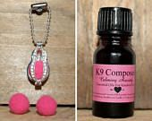 Dog Collar Tag Essential Oil Diffuser Set Small Dogs Anxiety Pet Animal Lover Calming Aromatherapy Locket Pet Jewelry 10ml Calming Oil Dog
