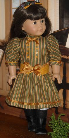 Green & Gold Victorian Holiday Dress for 18 Inch Dolls - 052 AG - Samantha Parkington - American Girl Outfits, American Girl Crafts, American Girls, Ag Doll Clothes, Doll Clothes Patterns, Doll Patterns, Dolly Fashion, Girl Dolls, Ag Dolls