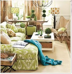 I absolutely LOVE this ikat pattern on this couch......