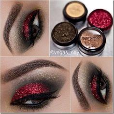 Sparkly red eye make up Love Makeup, Makeup Tips, Makeup Looks, Hair Makeup, Prom Makeup, Masquerade Makeup, Sexy Makeup, Masquerade Party, Pretty Makeup