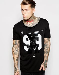Image 1 of ASOS T-Shirt With 99 Print With Stretch Neck And Scooped Hem
