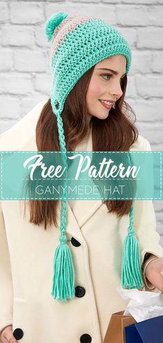 GANYMEDE HAT – FREE CROCHET PATTERN #HAT #crochet #freecrochetpattern #crochetlove #diy #tutorialcrochet #videocrochet #pattern Crochet Kids Hats, Crochet Braids, Crochet Clothes, Crochet Hat For Women, Crochet Patterns For Scarves, Crochet Scarves, Crochet Free Patterns, Crocheted Hats, Crochet Ideas