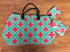 Large Pink/Mint Geometric Quilted Tote