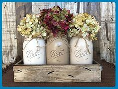 Mason Canning Jar Table Centerpiece with 3 Hand Painted Ball QUART Jars in Distressed Wood Tray rusty handles - CREAM, COFFEE, SAND (pictured) -Hydrangea Flowers are optional *STUNNINGLY BEAUTIFUL* - Wedding table decor (*Amazon Partner-Link)