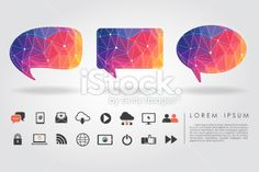 polygon bubble with communication icon Royalty Free Stock Vector Art Illustration