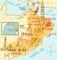 May the riches of Oman be brought into the City of God which is founded on the peace of the Messiah. May all the towns be remembered before the Lord. (Illustrator Clare Nicholas made this unique map of Oman. Ibri would be located at the crossroads intersection just above the 'w' in Nizwah.)