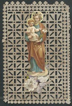 estampa de puntilla canivet de San Jose andachtsbild santino holy card  santini