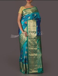 Copal Chakra English Blue Brocade Pure #MulberrySilkSaree