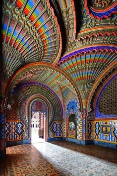 The Peacock Room Castle Sammezzano, Tuscany Italy. I love anything colourful which is why this particular building caught my eye. I like the juxtapositioning of the bright rainbow like colours next to the more earthy browns. The shapes created looks almost like an illusion and to me gives it a make-believe feel, it also reminds me of peacocks tails the way they are positioned.