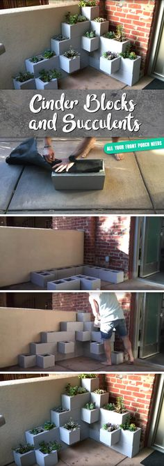 This Stunning Assembly of Cinder Blocks and Succulents are All your Front Porch Needs!