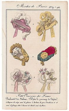Petit Courrier des Dames, no 446, Mode de Paris, Hats, c.1827