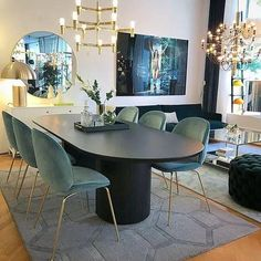 love our new gubi chairs credit vasahem_inredning Dining Room Decor decorative mirrors dining room Luxury Dining Room, Dining Room Design, Dining Room Table, Dining Chairs, Design Room, Dining Decor, Side Chairs, Dining Rooms, Dining Suites