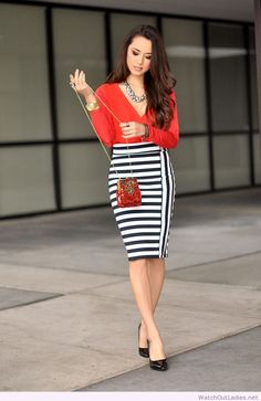 Hapa Time black and white skirt and red blouse
