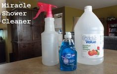 This miracle shower and bathtub cleaner is made from two simple ingredients: white vinegar and Blue Dawn dishwashing liquid. It does a great job on bathroom faucets and soap scum on shower doors! #cleaning