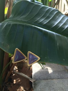 Vintage Purple & Gold Triangle Earrings by LeFringeCollection on Etsy