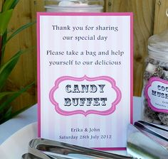1 X PERSONALISED ECO-FRIENDLY CANDY BUFFET/SWEETIE BAR SIGN TABLE CARD RECYCLED